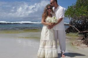 Jennifer and Paul Gillmore at Tortuga Bay in Galapagos