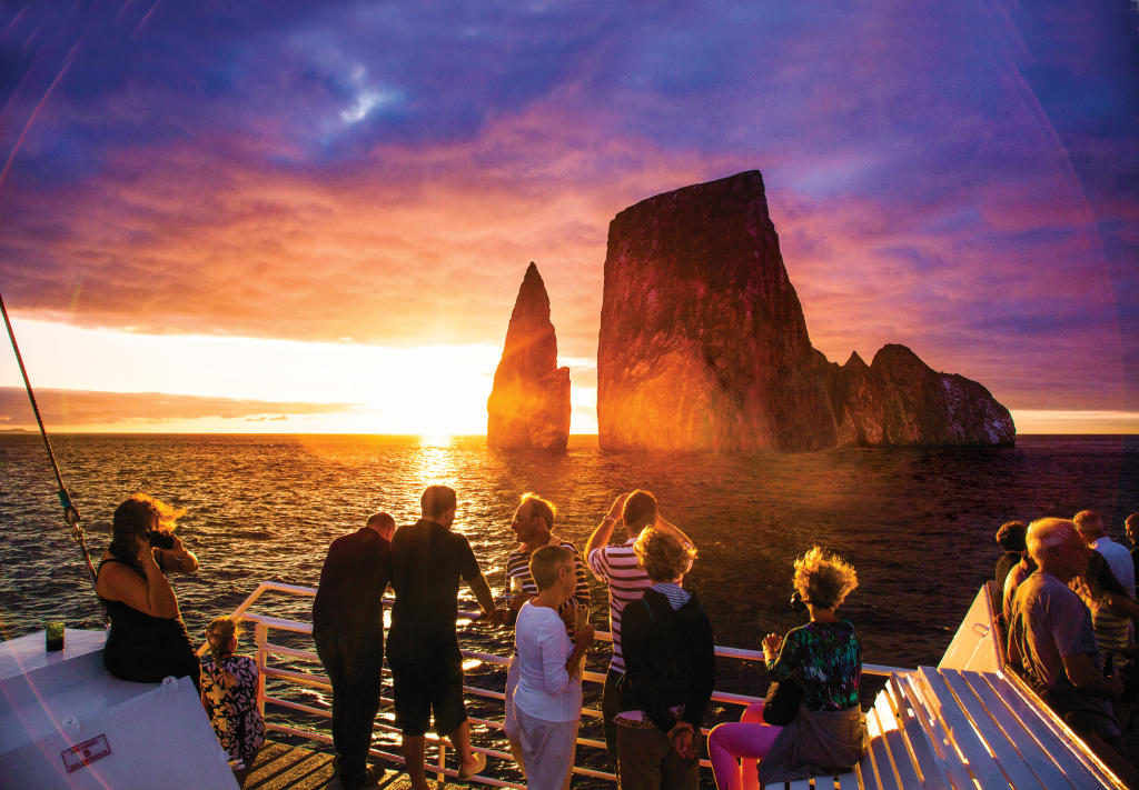 Kicker Rock at sunset, Galapagos Islands.